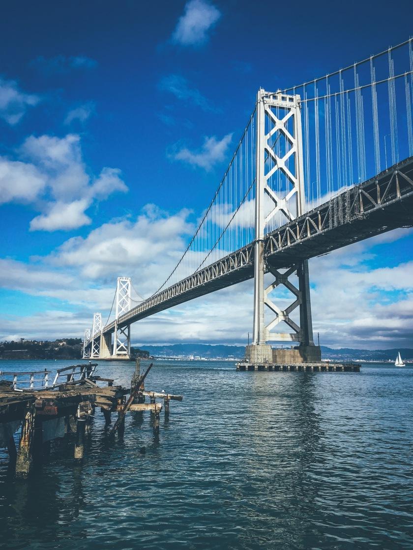 Bay Bridge  connecting to treasure island in San Francisco California