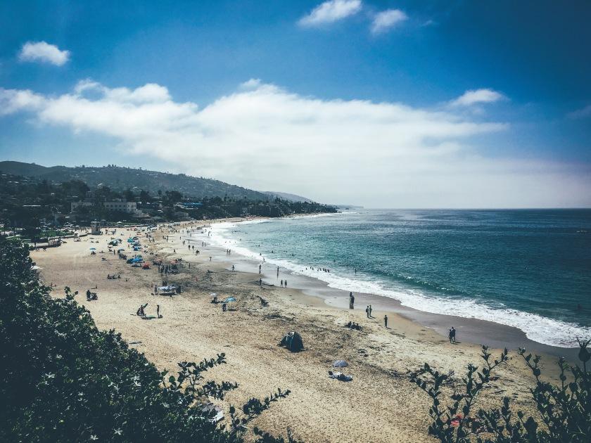 Laguna Beach California blue skies and blue ocean in main beach