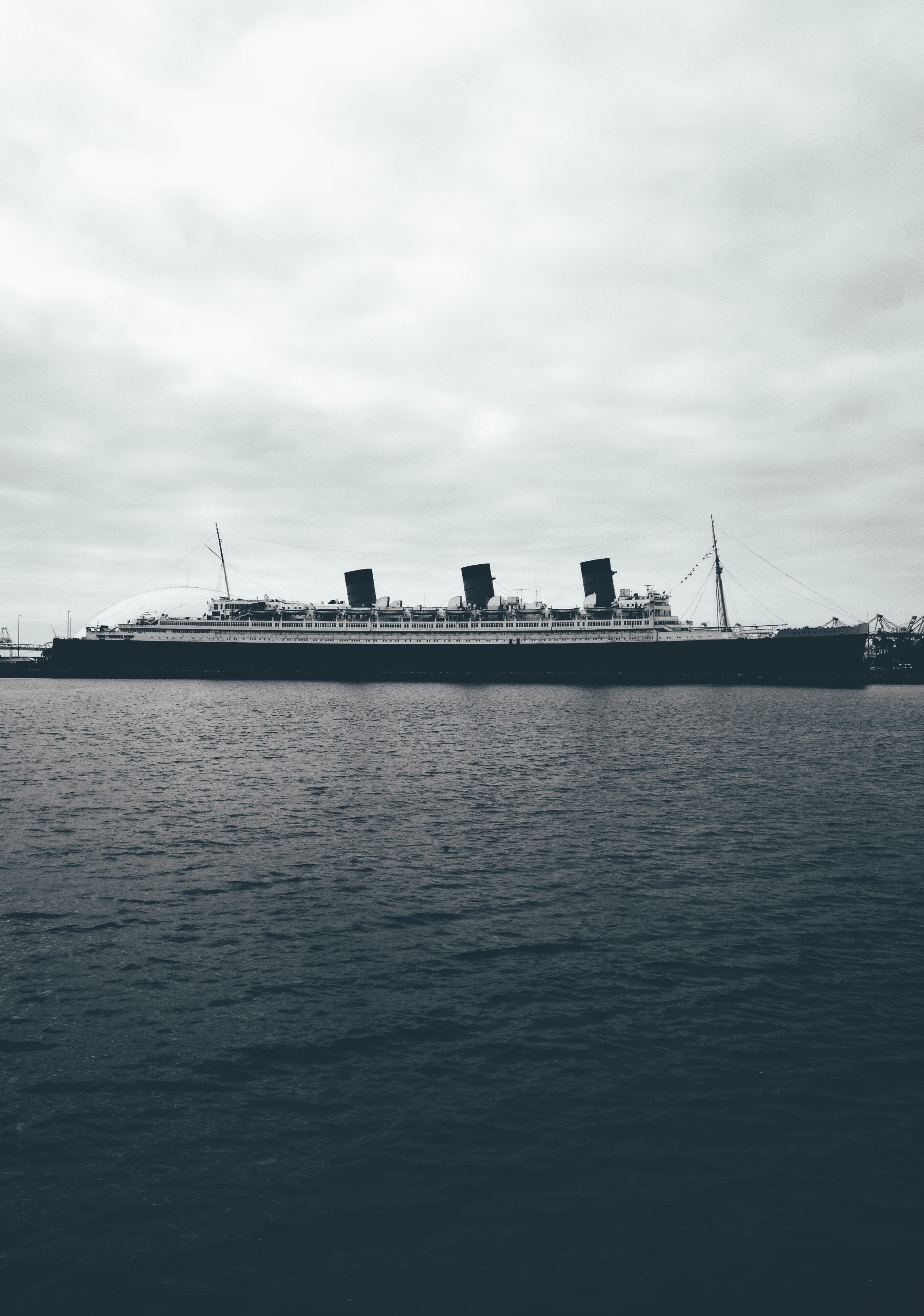 Queen Mary Long Beach California Black and White