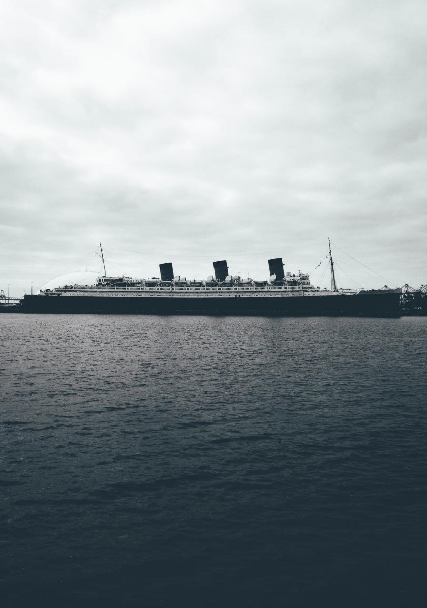 Queen Mary Long Beach California Black and White