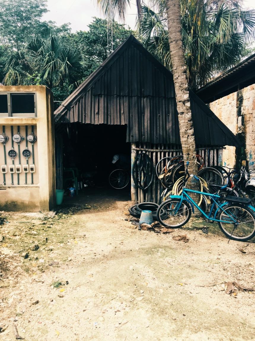 iPhone 6s Plus - Bike repair and rental shop near Coba mayan pyramids. On a trip to Cancun