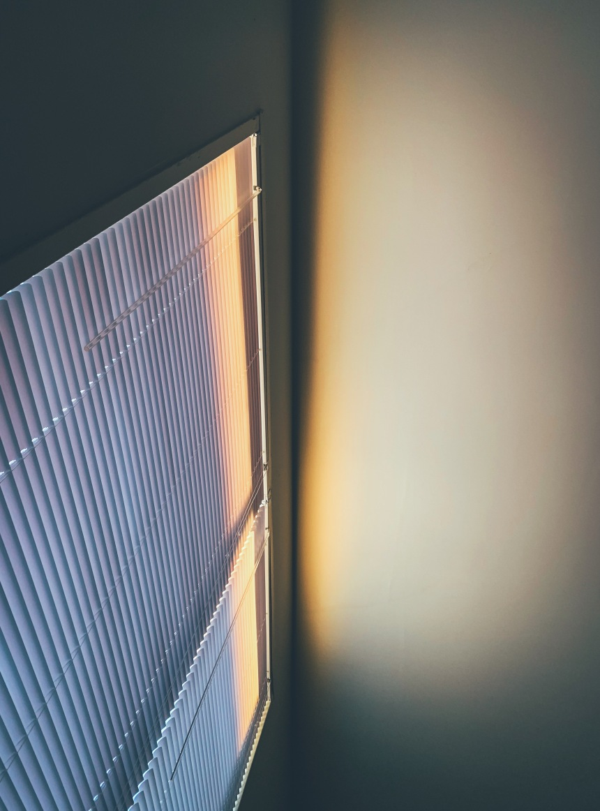 Hidden lines posted on VSCO, light passing through the blinds