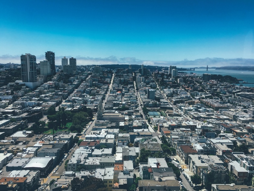 San Francisco streets, view from cost tower