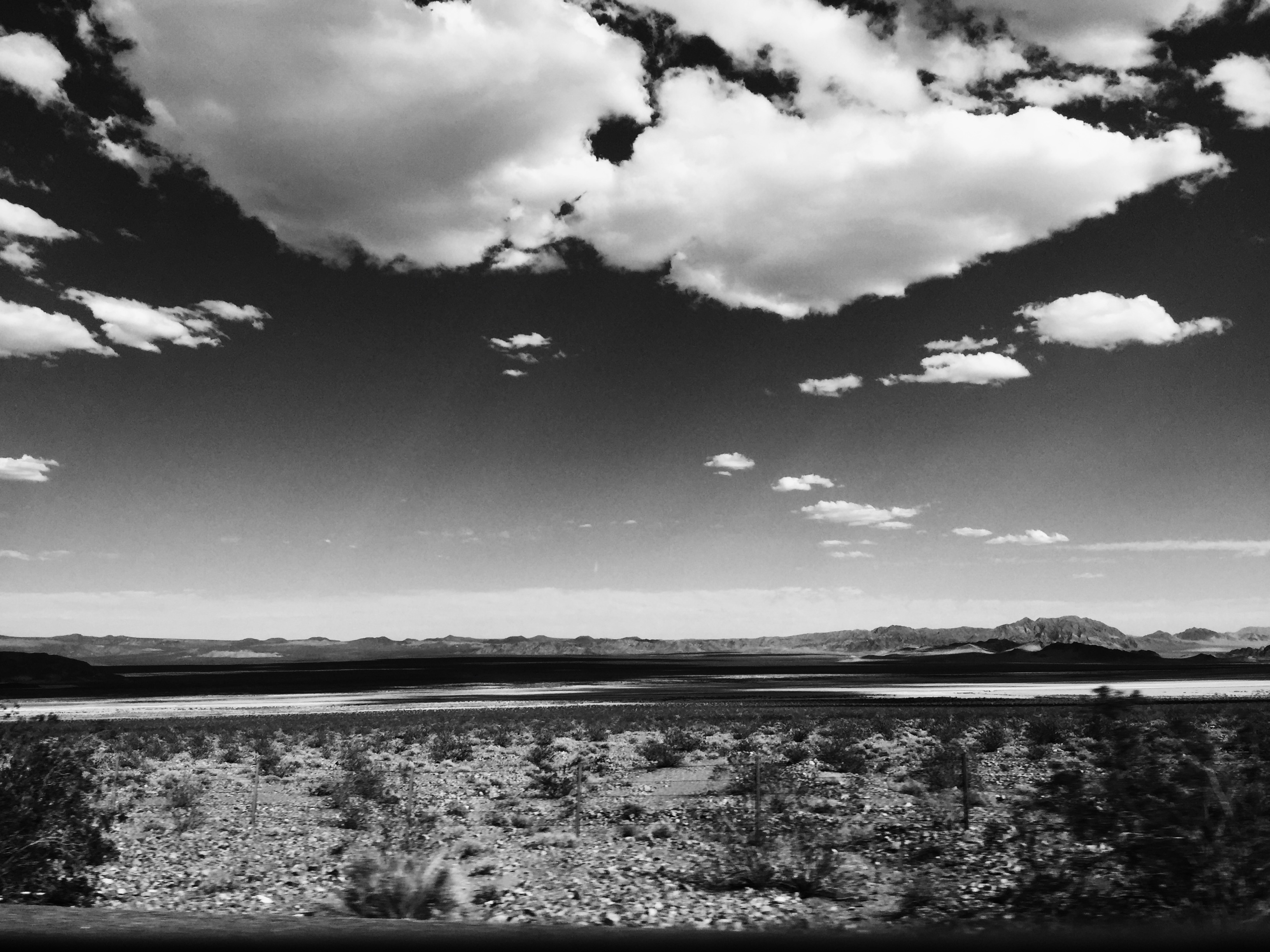 On the way to Las Vegas Nevada on the 15 highway in California black and white view of the desert